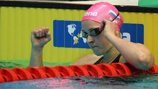 Дарья С. Устинова (Россия) в финальных соревнованиях по плаванию на дистанции 200 м вольным стилем среди женщин на VI этапе Кубка мира по плаванию в Казани.