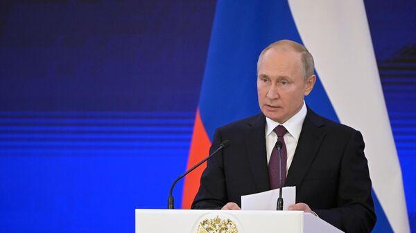 Владимир Путин выступает на торжественном приеме в честь Дня народного единства.