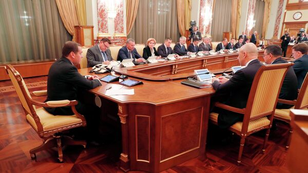 Дмитрий Медведев проводит совещание с членами кабинета министров РФ