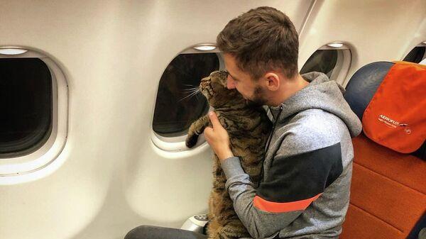 Михаил Галин и его кот по кличке Виктор во время путешествия по маршруту Рига - Москва - Владивосток