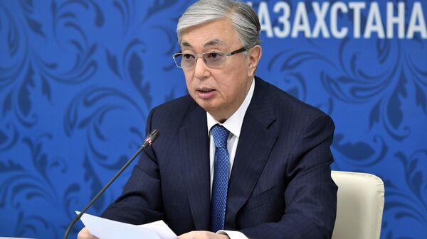 Президент Казахстана Касым-Жомарт Токаев во время заседания XVI Форума межрегионального сотрудничества России и Казахстана