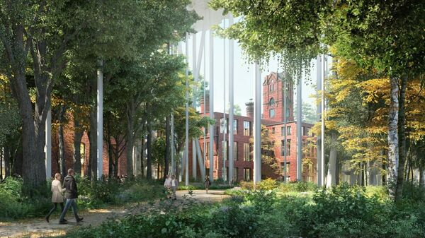 Парк в рамках редевелопмента Бадаевского завода в Москве