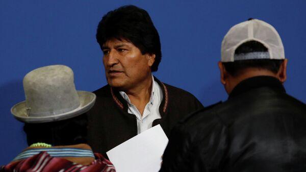 Президент Боливии Эво Моралес после объявления об отставке