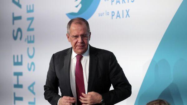 Министр иностранных дел РФ Сергей Лавров на 2-м Парижском форуме мира