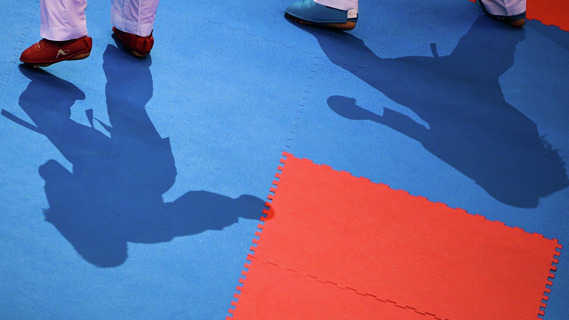 Тени на татами во время поединка соревнований по каратэ  - РИА Новости, 1920, 13.06.2021