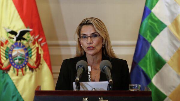 Временный президент Боливии Жанин Аньес во время выступления в президентском дворце в Ла-Пасе