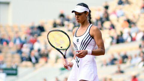 Виталия Дьяченко (Россия) в матче женского одиночного разряда Открытого чемпионата Франции по теннису против Серены Уильямс (США).