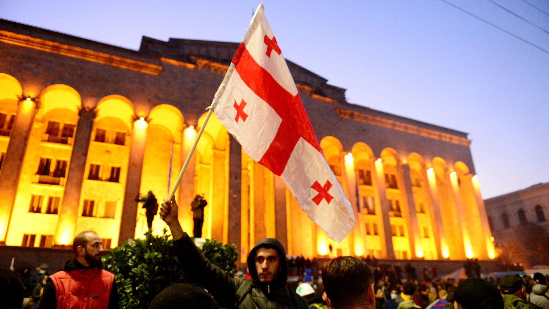 Участники акции протеста у здания парламента Грузии в Тбилиси - РИА Новости, 1920, 01.01.2021