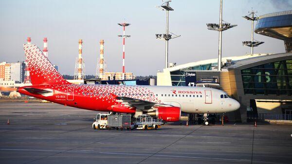 Самолет Airbus А319 авиакомпании Россия в международном аэропорту Внуково
