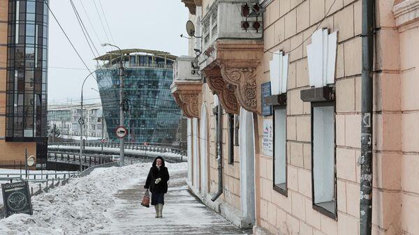 Вид на одну из улиц в центре Улан-Удэ