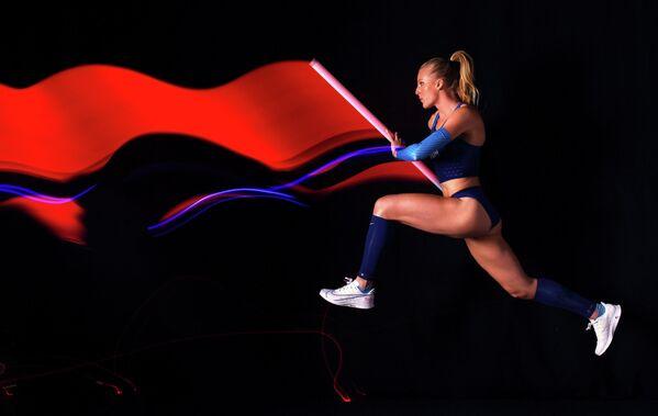 Легкоатлетка Сэнди Моррис во время съемки американской команды к Олимпиаде 2020