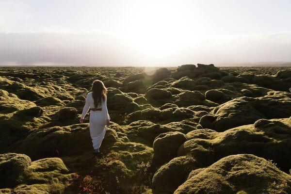 Зеленые лавовые поля в Эльдхрауне, Исландия