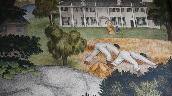 Темнокожие рабы трудятся на плантации Джорджа Вашингтона, фреска работы Виктора Арнаутова