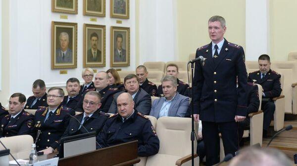 Полковник Владимир Васенин во время представления руководящему составу подразделений московской полиции