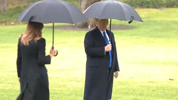 Трамп забыл жену перед посадкой на вертолет