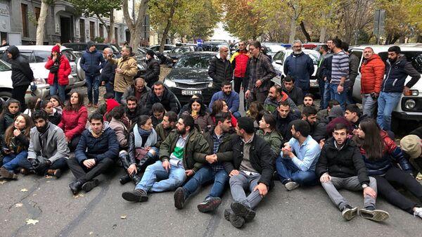 Акция протеста у здания министерства науки, образования, культуры и спорта в Еревaне, Армения. 3 декабря 2019