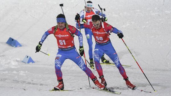 Биатлонисты Елисеев и Гараничев  на индивидуальной гонке в рамках этапа Кубка мира в Эстерсунде