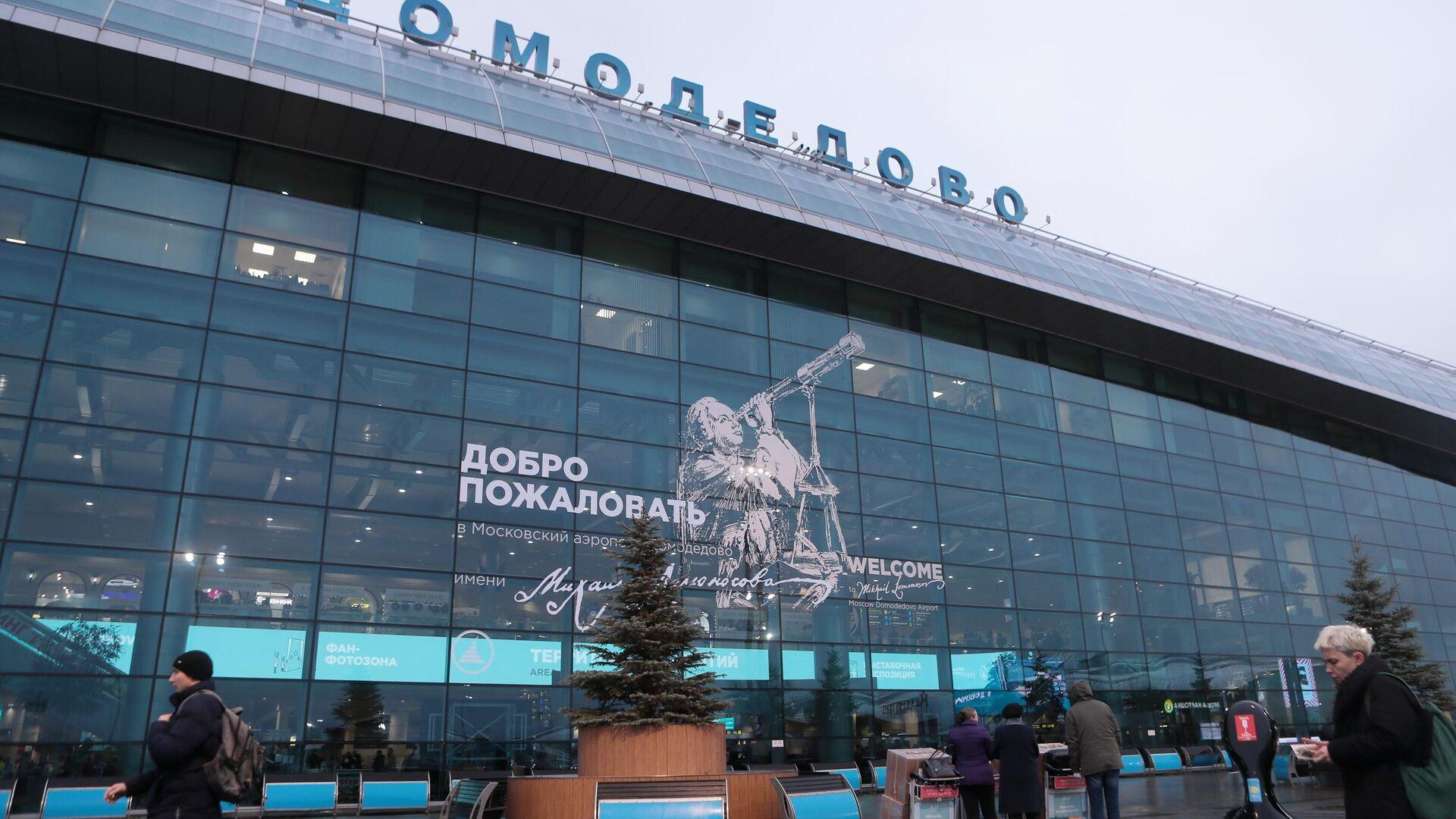 Пассажиры у терминала аэропорта Домодедово имени М. В. Ломоносова - РИА Новости, 1920, 18.02.2021