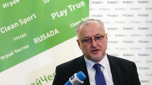 Генеральный директор Национальной антидопинговой организации РУСАДА Юрий Ганус во время интервью в Москве