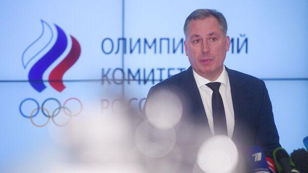 Президент Олимпийского комитета России Станислав Поздняков на пресс-подходе в Москве