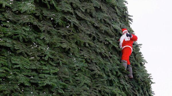 Монтажник-высотник Дмитрий Иванов в костюме Санта-Клауса участвует в установке главной новогодней елки высотой 55 метров на острове Татышев посреди реки Енисей в Красноярске