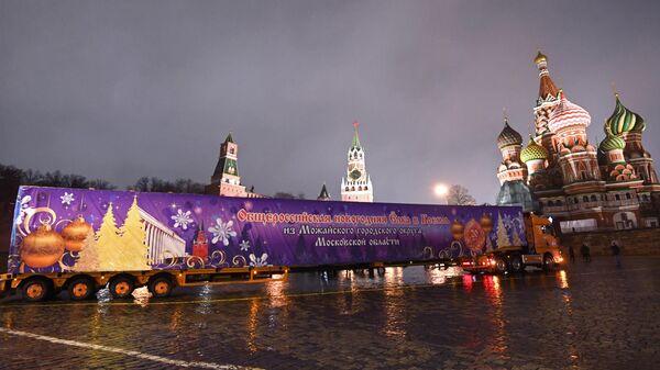 Доставка новогодней елки в Кремль