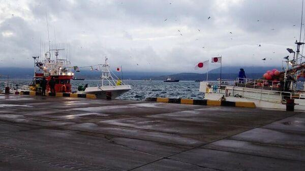 Задержанные японские суда в Южно-Курильске