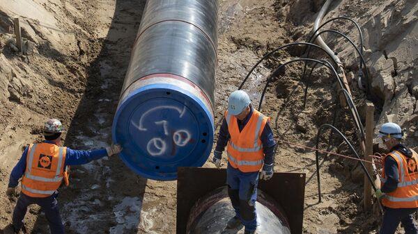 Строительство трубопровода Северный поток - 2 в Лубмине