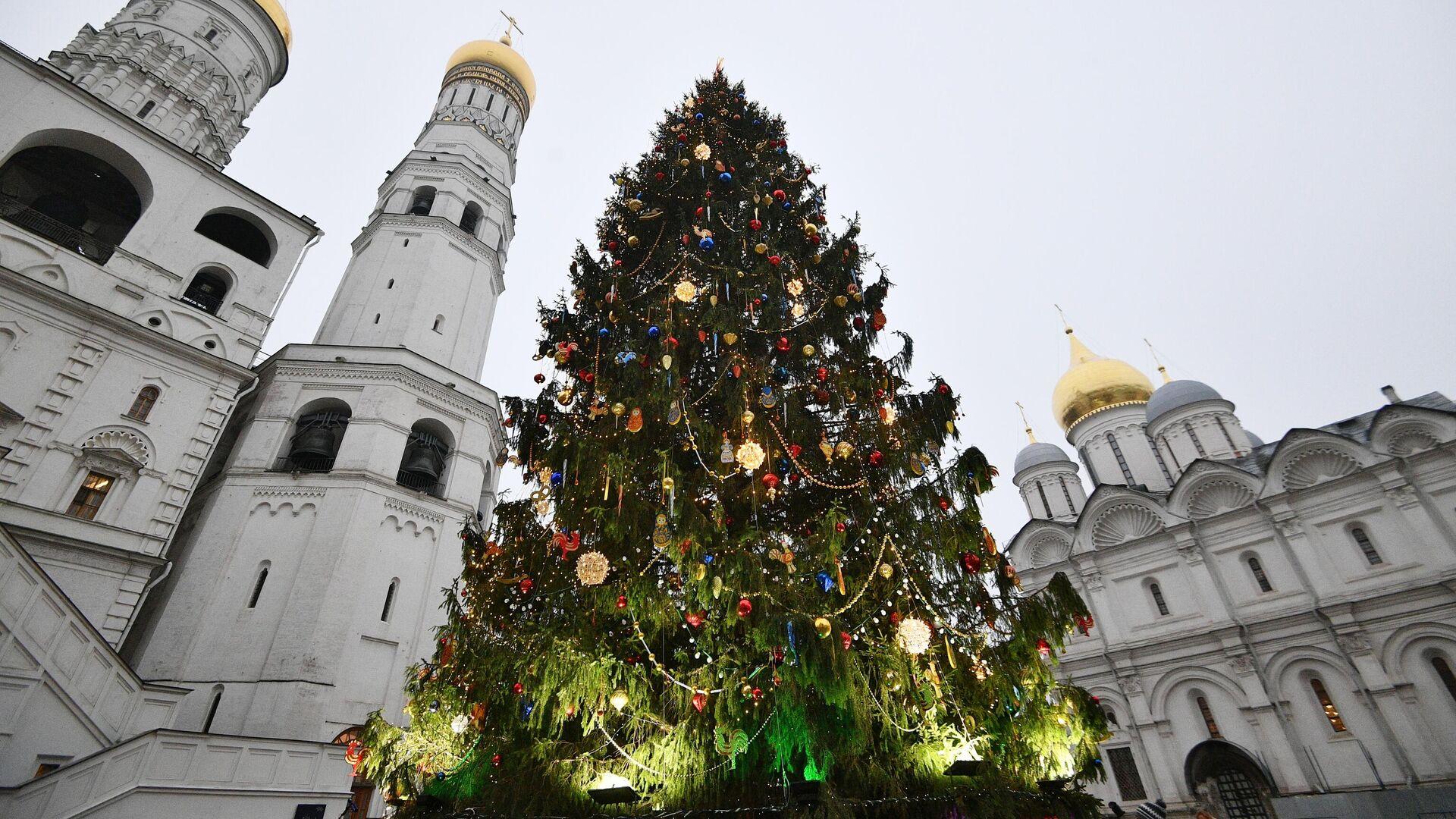 Украшение новогодней елки на Соборной площади Кремля - РИА Новости, 1920, 09.12.2020