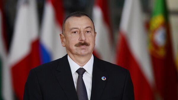 Президент Азербайджана Ильхам Алиев перед началом 5-го Саммита Восточного партнерства в Брюсселе
