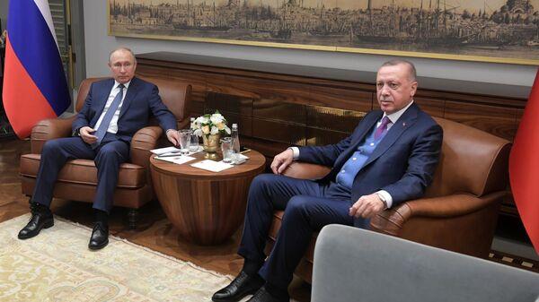 Президент РФ Владимир Путин и президент Турции Реджеп Тайип Эрдоган во время встречи в конгресс-центре Халич в Стамбуле. 8 января 2020