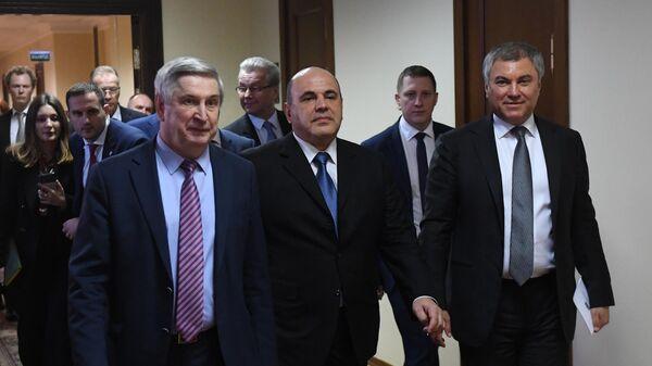 Кандидат на пост премьер-министра РФ Михаил Мишустин встретился с членами фракции Единая Россия в Госдуме