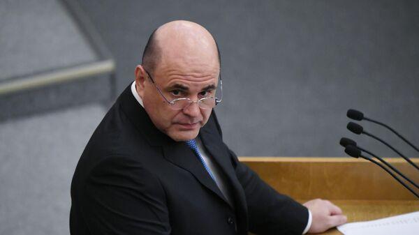 Кандидат на пост премьер-министра РФ Михаил Мишустин выступает на пленарном заседании Государственной Думы РФ