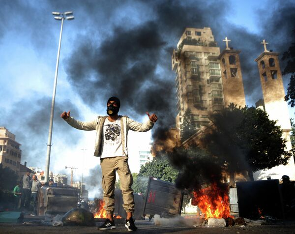 Акция протеста в Бейруте, Ливан. 14 января 2020