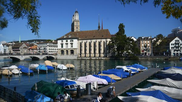 Пирс на реке Лиматт в Цюрихе