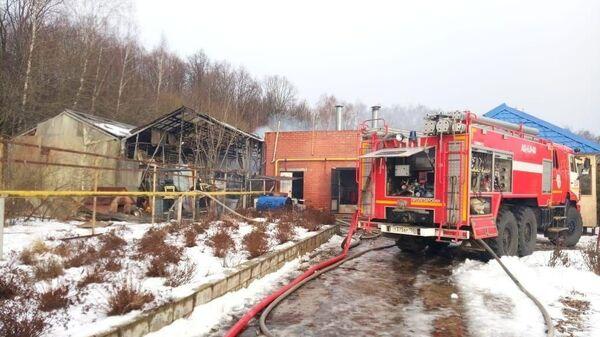 Место пожара в тепличном комплексе в деревне Петровское городского округа Серпухов