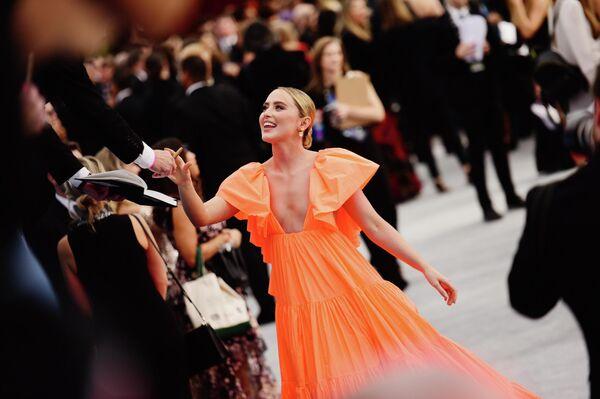 Актриса Кэтрин Ньютон на церемонии вручения премии Гильдии киноактеров в Лос-Анджелесе