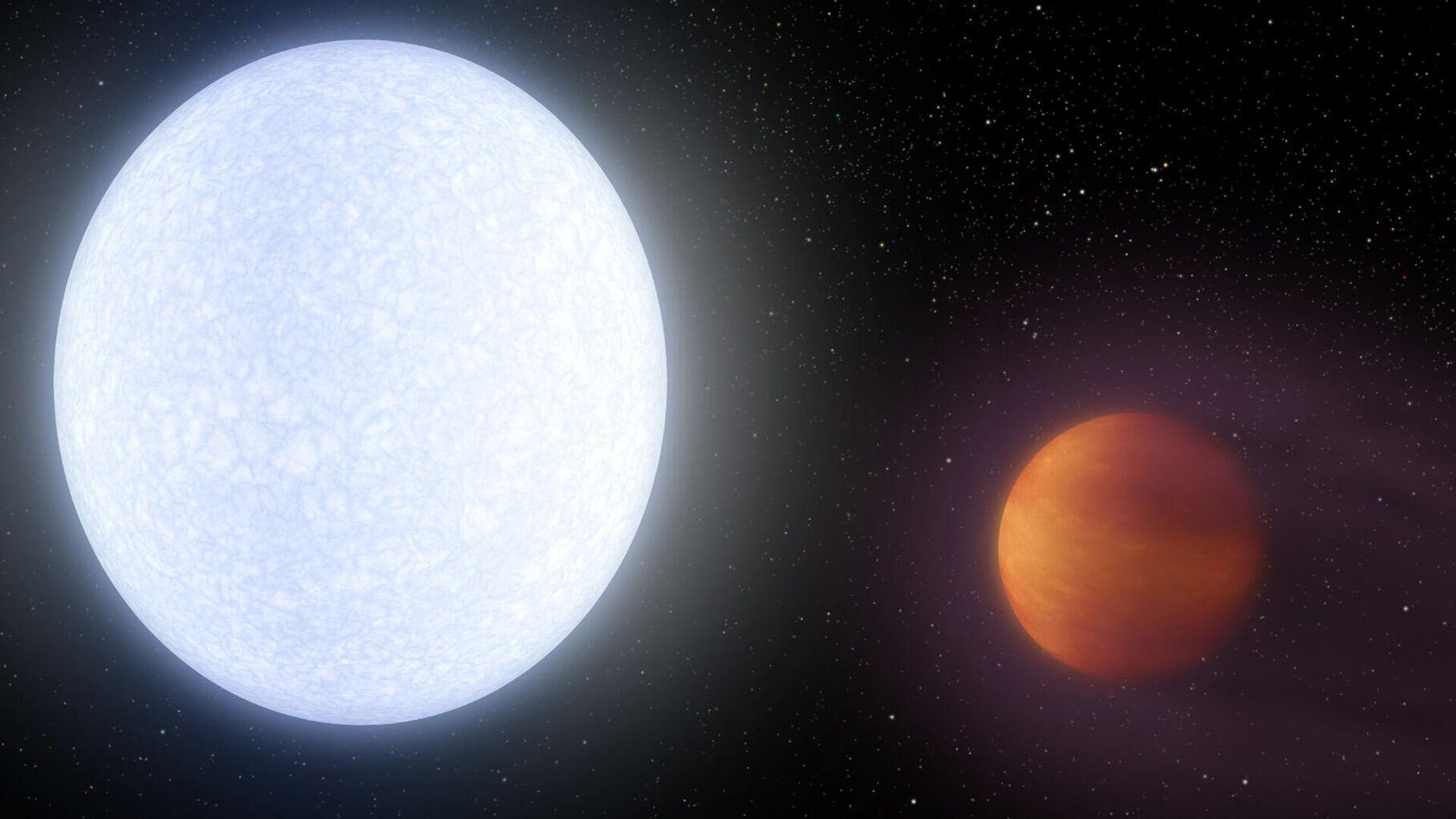 Художественное изображение экзопланеты KELT-9b – самого известного горячего юпитера - РИА Новости, 1920, 27.01.2020