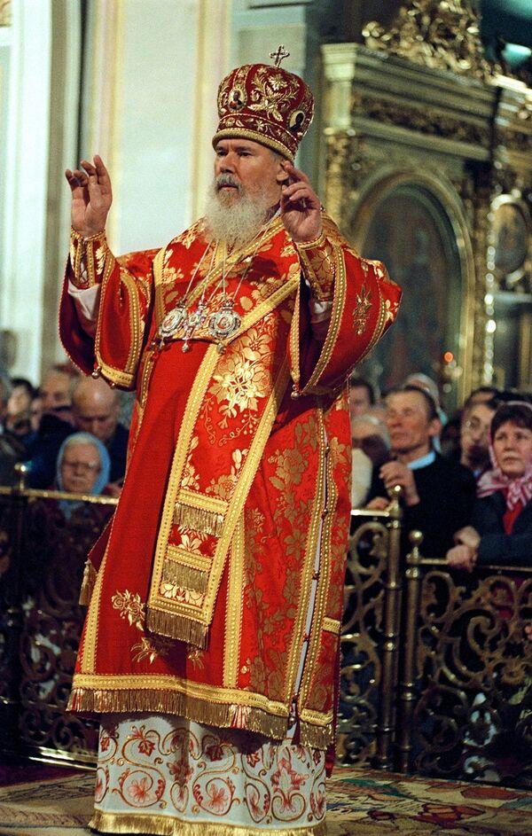 Алексий II во время Божественной Литургии в честь Пасхи