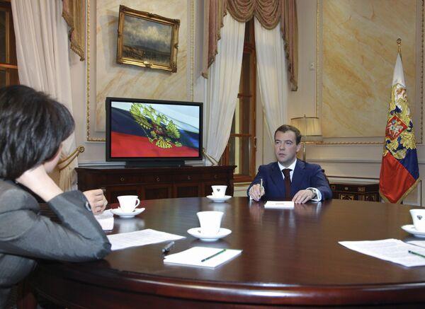 Президент России Дмитрий.Медведев дал интервью по итогам 2008 года российским телеканалам Первый, Россия и НТВ