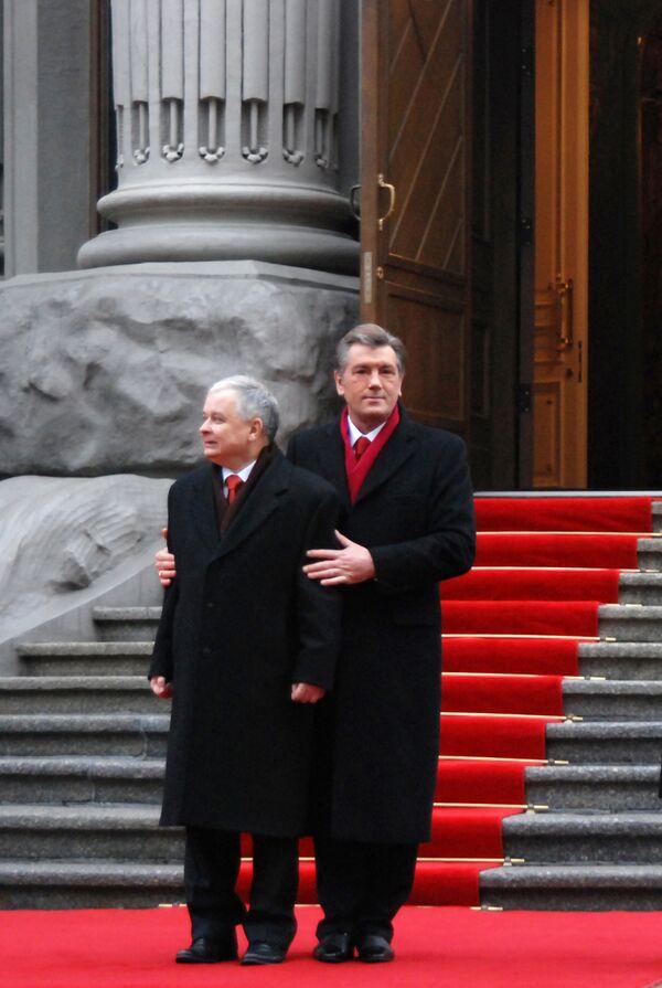 Встреча президентов Виктора Ющенко и Леха Качиньского в Киеве