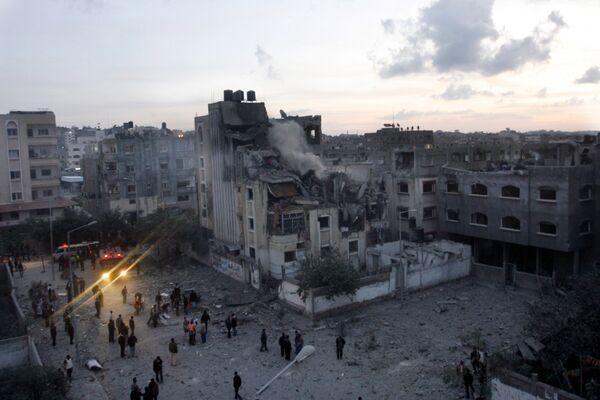 Разрушенный в результате авиаударов израильских ВВС дом