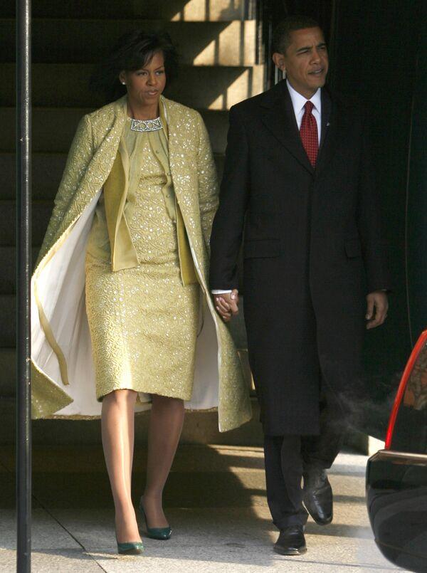 Президент США Барак Обама с супругой Мишель перед церемонией инаугурации
