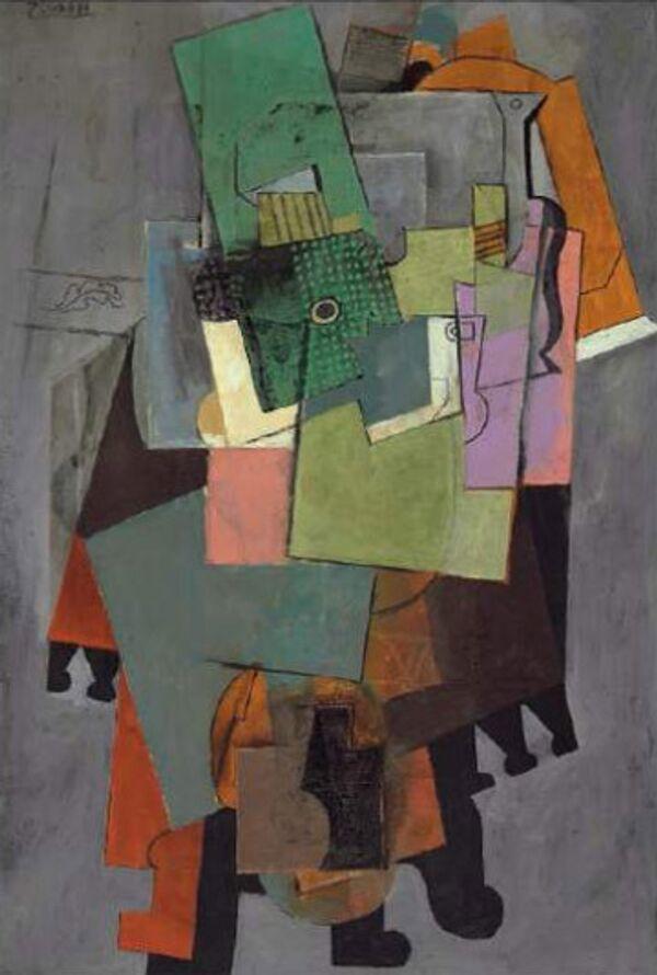 Пабло Пикассо (1878-1973). Музыкальные инструменты на столике, 1914