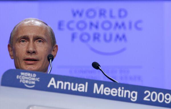 Премьер РФ Владимир Путин на Всемирном экономическом форуме в Давосе.