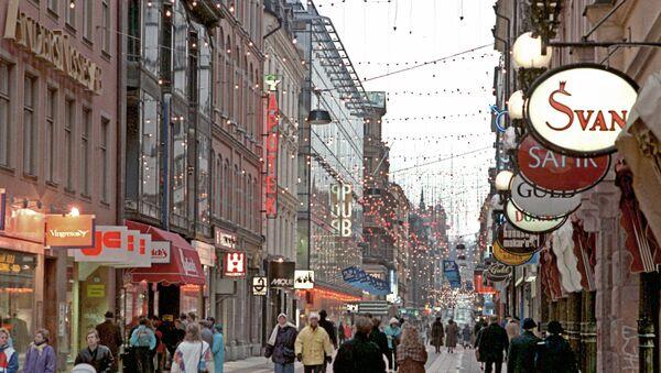 На улице Стокгольма. Архив