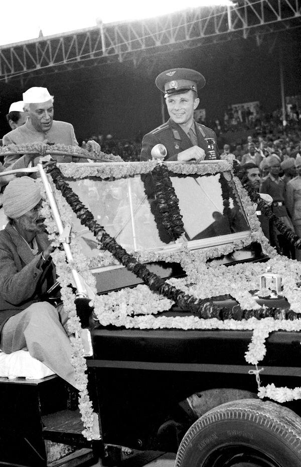 Встреча Ю.Гагарина в Дели