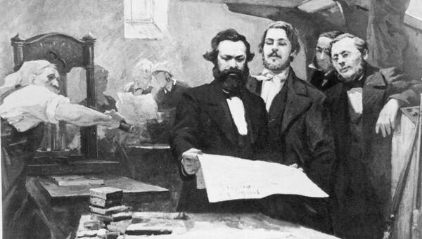 Картина Маркс и Энгельс в редакции Новой Рейнской газеты. Архив