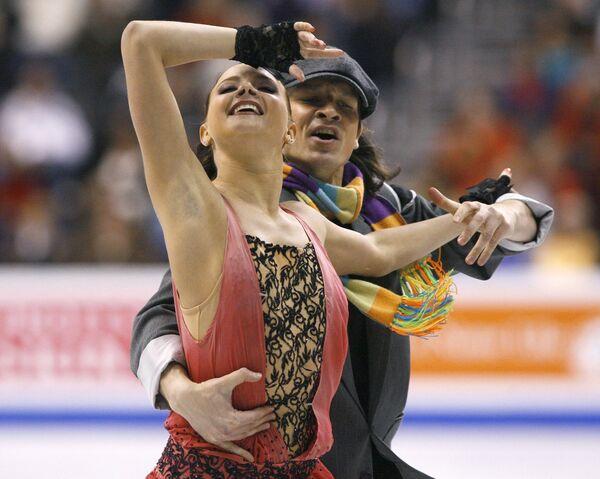 Оксана Домнина и Максим Шабалин во время проката оригинального танца на ЧМ по фигурному катанию
