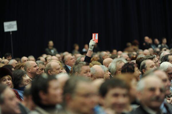 Голосование на чрезвычайном съезде Союза кинематографистов в Москве